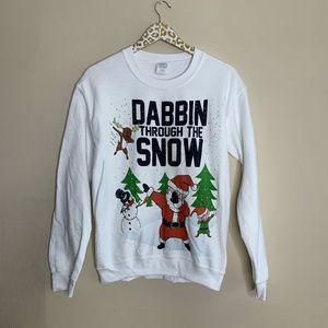 Dabbin Through The Snow Crewneck Sweatshirt Small